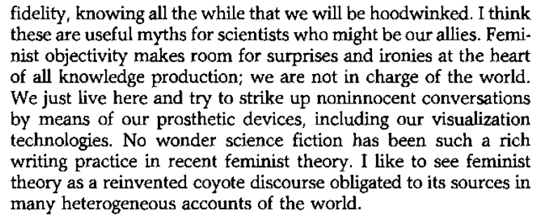 Excerpt from Situated Knowledges by Donna Haraway